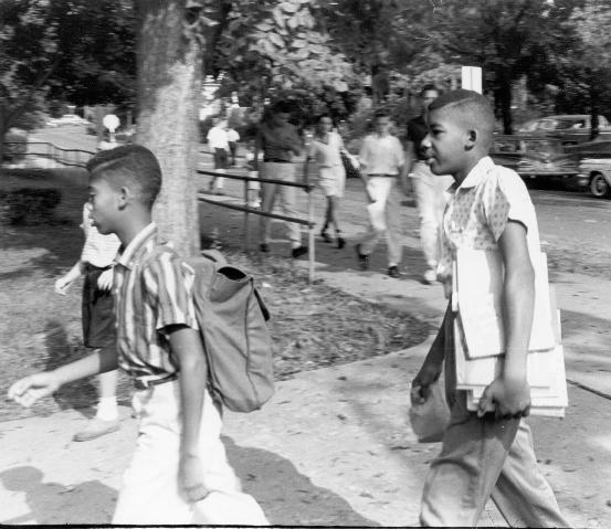 Black students entering Venable School, Fall, 1959, The Charlottesville Daily Progress