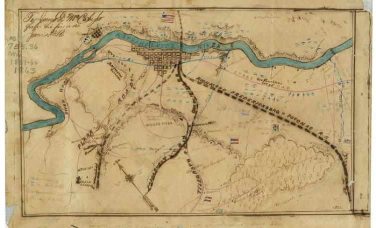 Map of the Battlefield of Fredericksburg and Environs, 1863