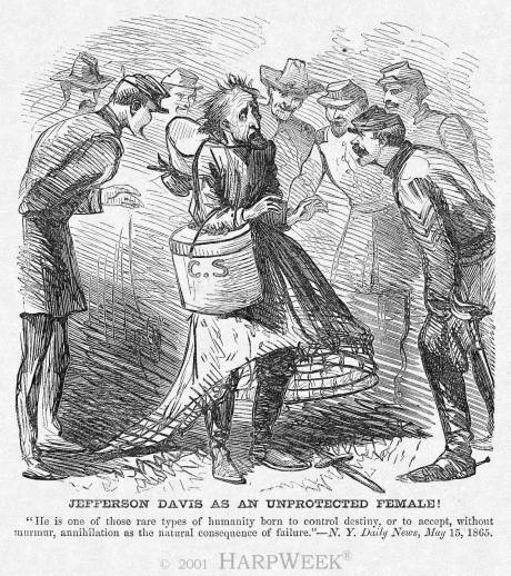 """""""Jefferson Davis as an Unprotected Female!"""" Harper's Weekly, May 27, 1865"""