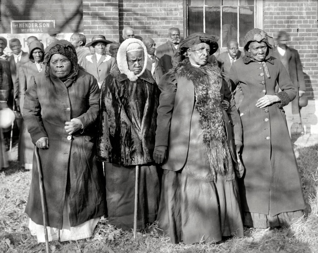 "Washington, D.C., 1916. ""Convention of former slaves. Annie Parram, age 104; Anna Angales, age 105; Elizabeth Berkeley, 125; Sadie Thompson, 110."" National Photo Company Collection glass negative. (Shorpy)"