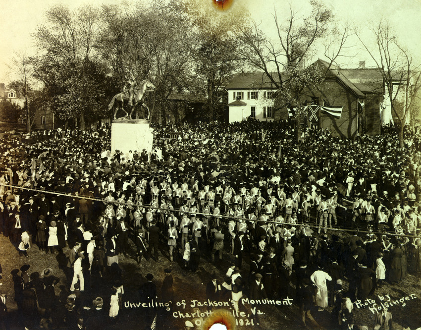 """A crowd gathers in Charlottesville, Virginia, on October 19, 1921, for the unveiling of a statue of Confederate war hero Stonewall Jackson. Sculptor Charles Keck created the statue of Jackson and his horse """"Little Sorrel""""; they sit atop a marble pedestal facing south. (Holsinger Collection, University of Virginia Special Collections)"""