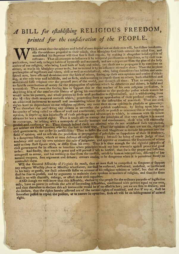 """""""A Bill for establishing Religious Freedom, printed for the consideration of the People,"""" a broadside printed in Williamsburg in 1779 and the earliest known printed version of Thomas Jefferson's proposed bill (Trustees of the Boston Public Library)"""