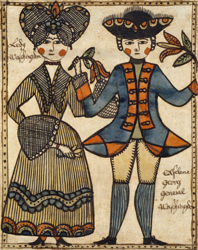 Folk art depiction of George and Martha Washington (Abby Aldrich Rockefeller Folk Art Center, the Colonial Williamsburg Foundation)
