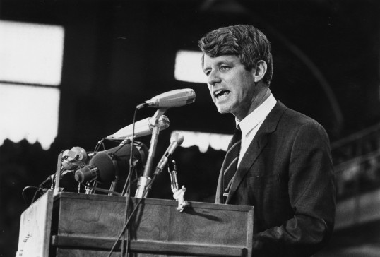Robert F. Kennedy speaking at an election rally in 1968 (Photo by Harry Benson/Express/Getty Images)