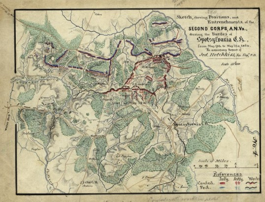 Map of the Battle of Spotsylvania by Jedediah Hotchkiss (CivilWar.com/Library of Congress)
