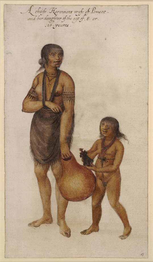 """A chiefe Herowans wife of Pomeoc"" by John White, ca. 1585 (Virginia Indian Archive)"