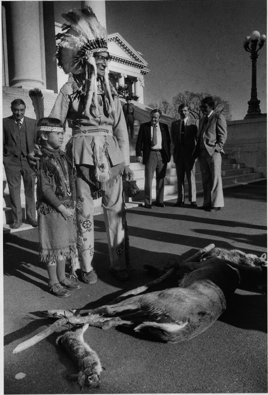 Offering at the Capitol by Lui K. Wong, November 21, 1980 (Virginia Indian Archive)