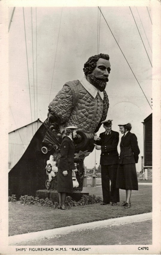 Postcard of HMS Raleigh and its figurehead depicting Sir Walter Raleigh (Matthew Boyington/Anywhen)