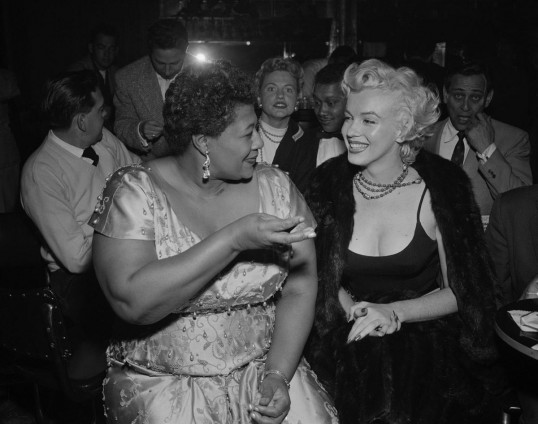 Ella Fitzgerald and Marilyn Monroe at the Tiffany Club in Hollywood, 1954