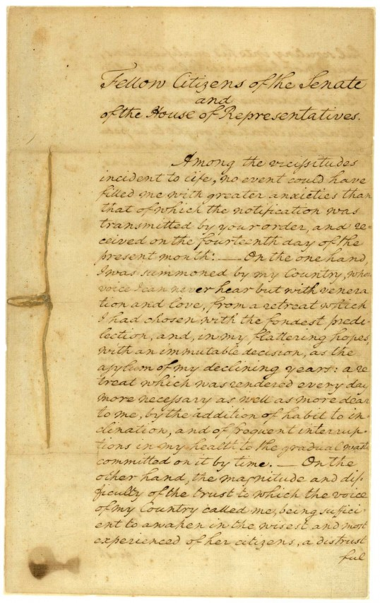 First page of George Washington's first Inaugural Address, delivered April 30, 1789 (National Archives)