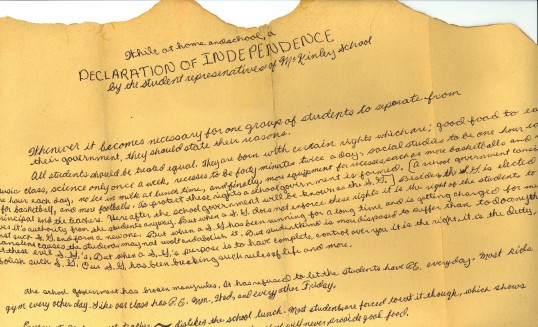 A Declaration of Independence by the student representatives of McKinley School (ca. 1983)