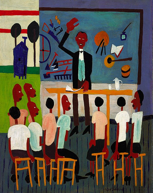 """Booker T. Washington Legend,"" ca. 1944–1945, by William H. Johnson (Smithsonian American Art Museum)"