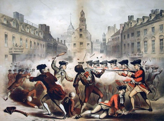 """""""Boston Massacre, March 5th, 1770,"""" published by J. H. Bufford's lithography company based on an illustration by W. L. Champney, 1856 (American Antiquarian Society)"""