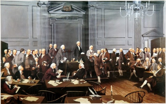 Painting by Louis S. Glanzman; commissioned by Delaware, Pennsylvania, and New Jersey State Societies Daughters of the American Revolution Independence National Historical Park Collection, 1987